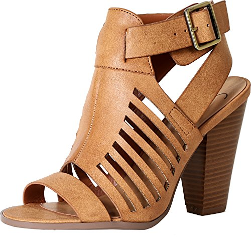 SODA Delicious Yummy Cutout Stacked Heel Sandal,Tan Pu,8 (Womens Sexy Heel Chunky Shoe)
