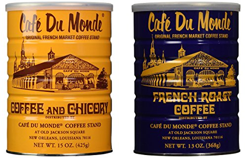Cafe Du Monde Coffee and Chickory and French Roast Bundle. New Orleans Coffee Bundle Includes One 15 ounce Original Coffee And One 13 Ounce French - Orleans Outlet Mall New