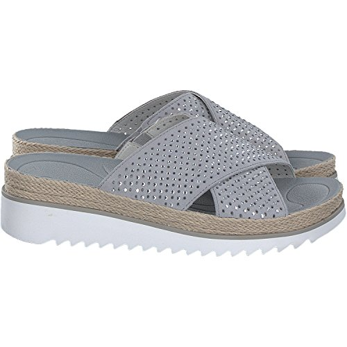 Gabor  63.721.14, Chaussons Mules femme - gris - stone,