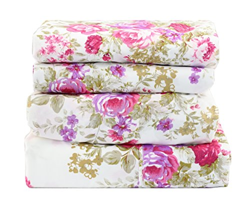 1800 Series Super Soft Egyptian Comfort 4pcs Queen Sheet Set Microfiber Floral Rose Purple & Pink