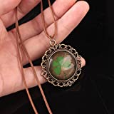 Leiothrix Vintage Alloy Hollowed-out Four-leaf Clover Glass Necklace for Women and Girls Apply to Weeding Party Casual