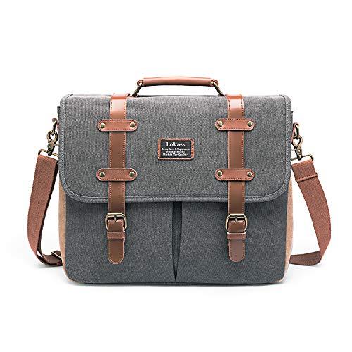 LOKASS Mens Messenger Bag 15.6 Inch Canvas Leather Laptop Bag Shoulder Handbag Business Briefcase Large Vintage Satchel Bookbag Crossbody Bag Computer Bag Case for Men, Work, College, Gray