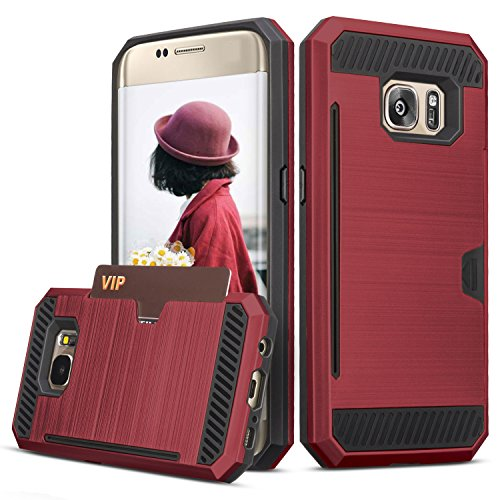 Galaxy S7 Case, TILL(TM) Wallet Case [Card Pocket] Shockproof Dual Protective Shell Rubber Bumper with Card Holder Slot Kickstand Case Cover for Samsung Galaxy S7 S VII G930 GS7 All Carrier [Red]
