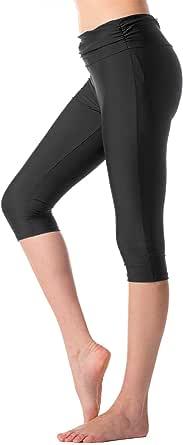 KEEPRONE Women's Swim Pants High Waist Tummy Control Swimming Tights UPF 50+ Capris Built-in Liner Outdoor Sport Leggings