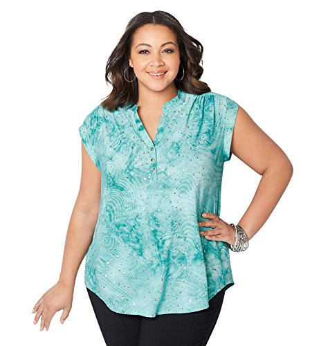 Sequin Tie Dye - Avenue Women's Sequin Tie Dye 3-Button Shirt, 30/32 Green