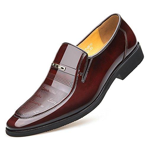 NIUWJ Hommes Gentleman Business Casual Mode Jeunesse Travail Chaussures en Cuir Brown 7YsHX802lE