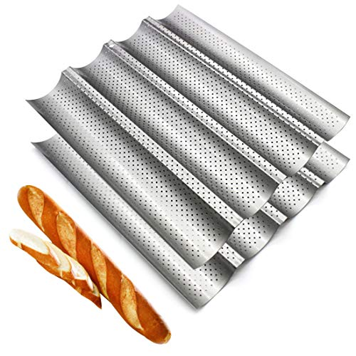 Fasmov 2 Pack French Bread Baking Pan Nonstick Perforated Baguette Pan 4 Wave Loaves Loaf Bake Mold Toast Cooking Bakers Molding