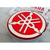 YAMAHA TUNING Emblem Sticker Logo / RED - CHROME /More size to select/ BODY GEL Resin Self-adhesive Moto / Jet Ski / ATV / Snowmobile (50mm.)