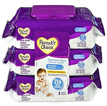 Parents Choice Baby Wipes Value Pack Sensitive 216 Count