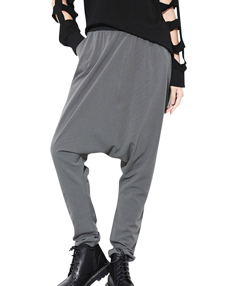 Unisexo Baggy Casual Plus Size Harem Pantalones Hiphop Pants Gris