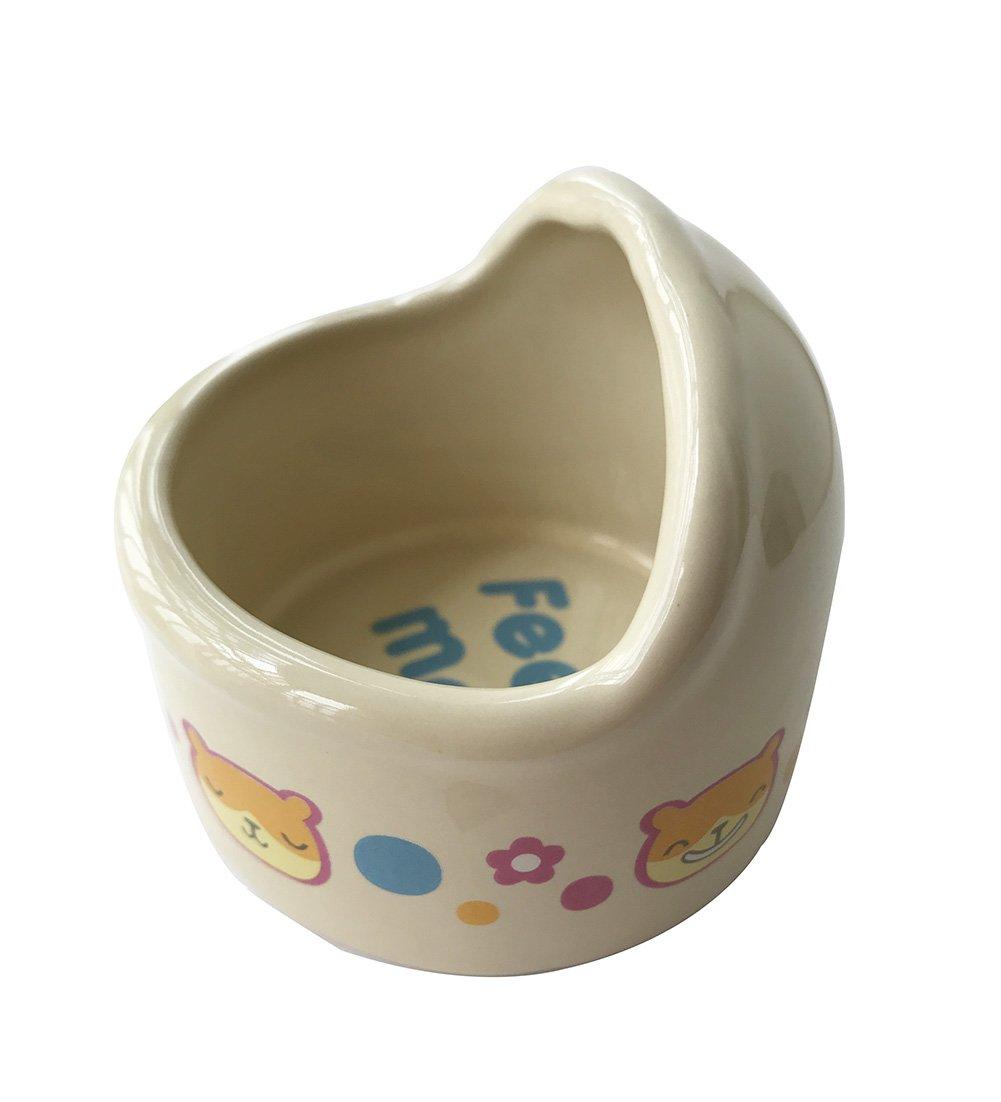 Wildforlife Arc Top Ceramic Small Animal Hamster Bowl (S(2.8'' Dia.), Cream-Coloured)