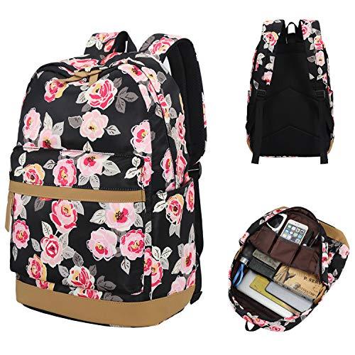 Laptop School Travel Backpack Girls Women College Bookbags Schoolbag Floral Daypack
