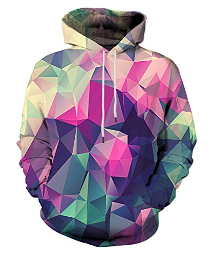 - Neemanndy Mens 3D Print Galaxy Sweatershirt Hoodie Lightweight Cool Sweaters with Geometry Design, X-Large