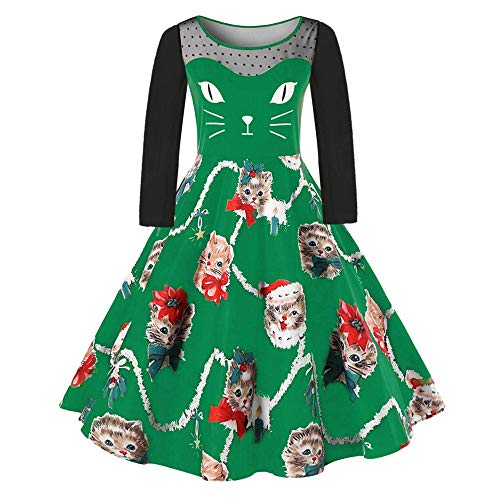 Christmas Kitten Pattern Swing Dress Women Plus Size Fashion Dress Green