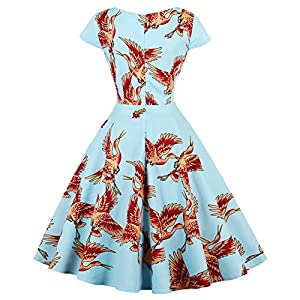 LaceLady BoatNeck Vintage Sleeveless Tea Dress with Belt Pleated Swing Party Floral35 L