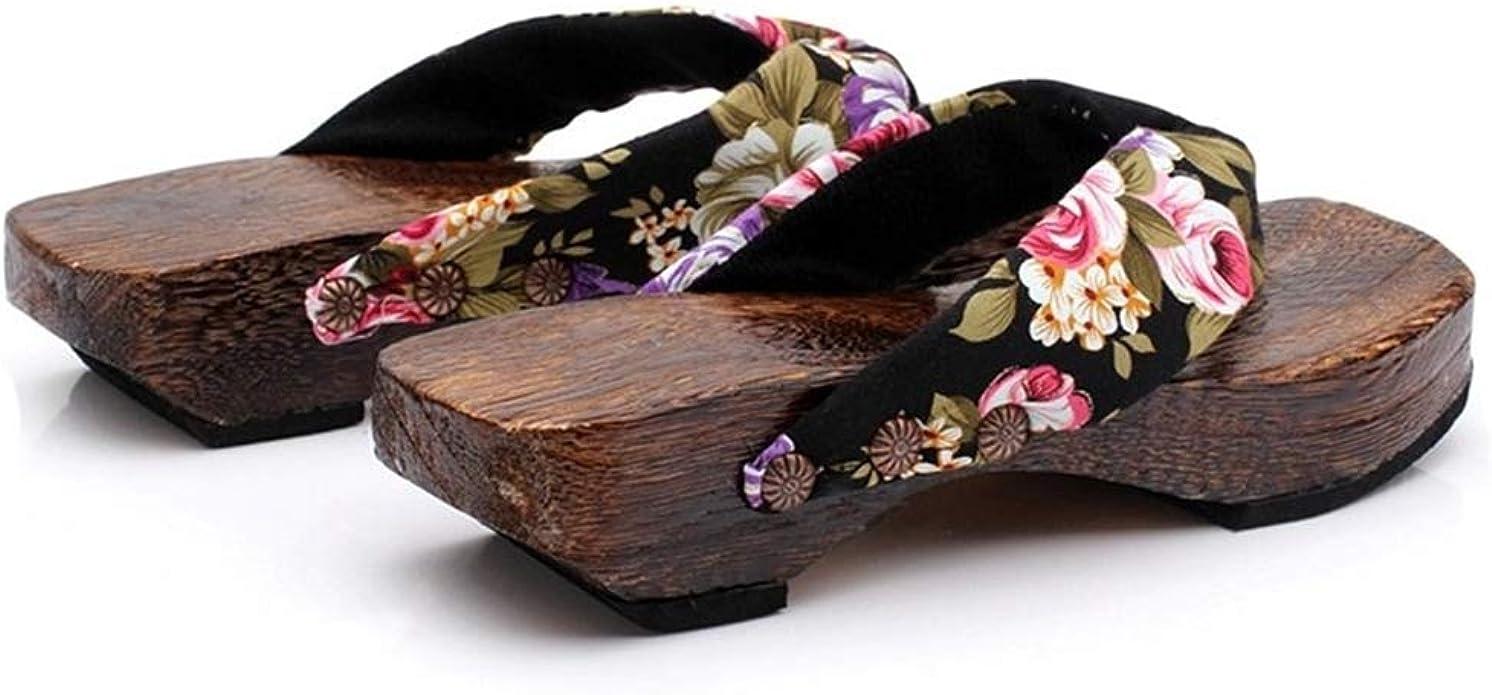 Summer Platform Shoes Women Clearance Wood Sandals Clogs Geta Thong Slippers Traditional Flip Flops Dressy