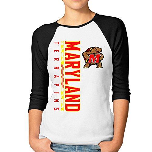RERR Women's Maryland University Raglan Baseball T Shirt Black Size XL