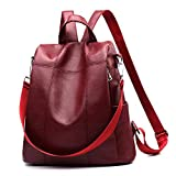 Women Backpack Purse Waterproof PU Leather Anti-theft Rucksack Fashion School Shoulder Bag Wine