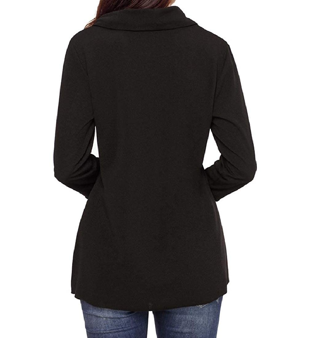 YUNY Womens Capes Outwear Tops Pullover Solid Color Assymetry Sweatshirts Black S