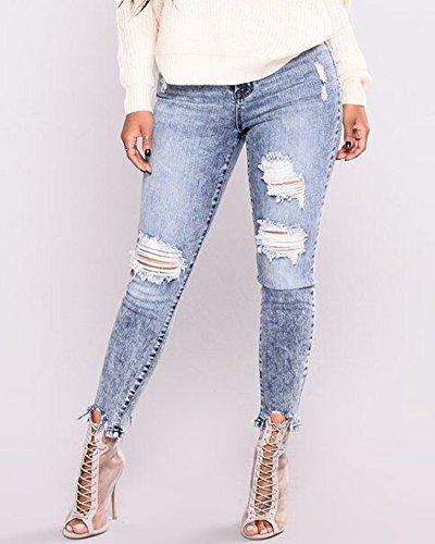 Denim Trous Rtro Bleu Jeans Haute en Pantalons Slim Dchirs Pantalon Crayon Taille Femme Clair ZU0tU