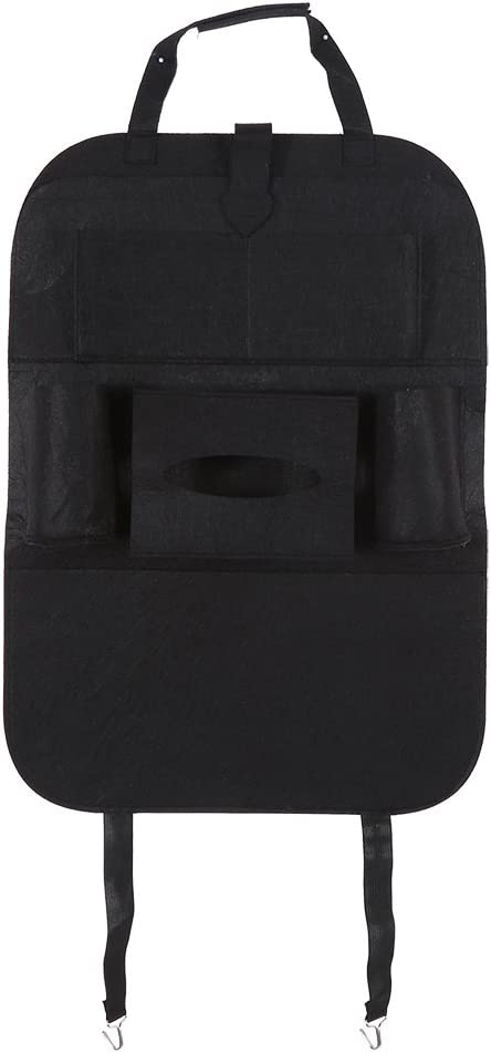 Cuque Multifunctional Universal Car Back Seat Organizer Auto Car Pocket Organizer Storage Bag for Laptop Ipad Mobile Tissue Box black