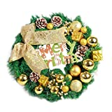 Elevin(TM)Merry Christmas 40cm Red Bowknot Large Garland Wreath Window Wall Door Decorations Ornament (B)