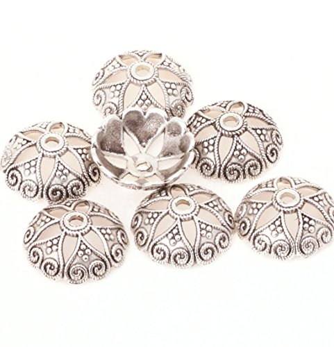 Cotowin Beautiful 15mm Silver Metal Flower Bead Caps for Jewelry Craft Making [Pack of 50] ()