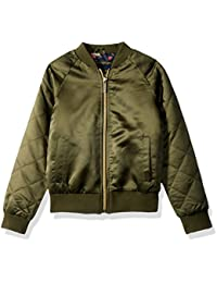 Girls' Too Bomber W/Allover Print and Quilted Sleeves