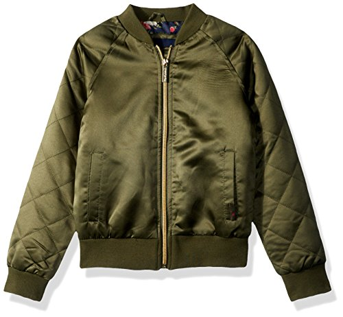Limited Too Little Girls' Too Bomber W/allover Print and Quilted Sleeves, Olive, (Girls Quilted Bomber Jacket)