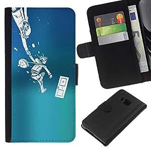 JackGot ( Empuje Monster ) HTC One M9 la tarjeta de Crédito Slots PU Funda de cuero Monedero caso cubierta de piel