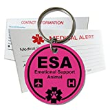 My Identity Doctor ESA Emotional Support Animal ID Tag Pre - Engraved Round Plastic Made in USA - Ribbon Pink - Small