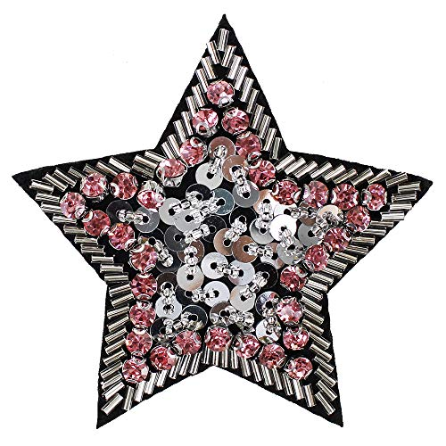 Handmade Bead Sequin Crystal Star Badges Motifs Brooches Patches for Clothes Shoes Craft DIY 2pieces (Crystal Brooch Motif)