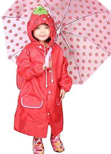 Toddler Kids Cute Cartoon Hooded Rain Jacket Raincoat Poncho Rainwear for Age 3-8
