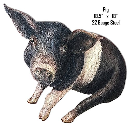 Black White Pig Animal Wall Art Laser Cut Out Metal Sign -