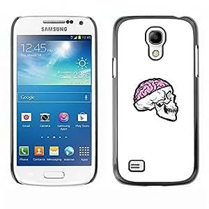 Caucho caso de Shell duro de la cubierta de accesorios de protección BY RAYDREAMMM - Samsung Galaxy S4 Mini i9190 - Cráneo rosado del cerebro