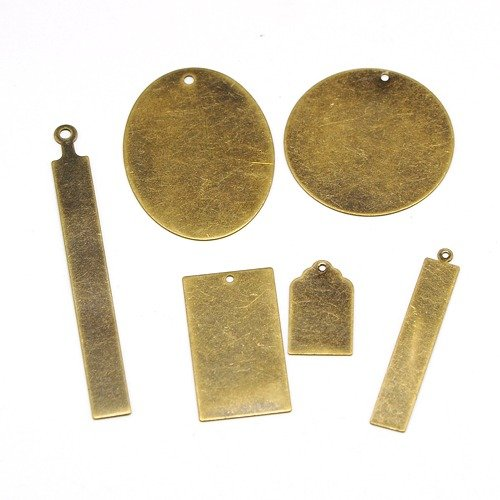 Pandahall 12pcs Antique Bronze Brass Blank Stamping Tag Pendants Mixed Oval Round Rectangle Metal Tags Charms DIY Jewelry 6pcs/Set (Brass Stamping Antique)