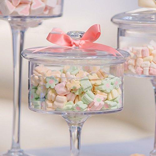 Dust-proof Glass Cake Stand Dessert Candy Jars Transparent Lid Storage Bottles 3pcs European High Wedding Decoration Food Jars by HUKOER
