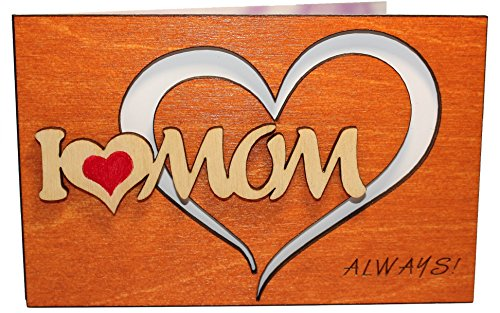 Handmade Real Wood I Love Mom Heart Greeting Card Best Happy Birthday Gift for Your Mom Godmother Stepmom Mother-in-law Unique Mothers Day Present Original Miss You Get Well Thank You Wooden Keepsake ()
