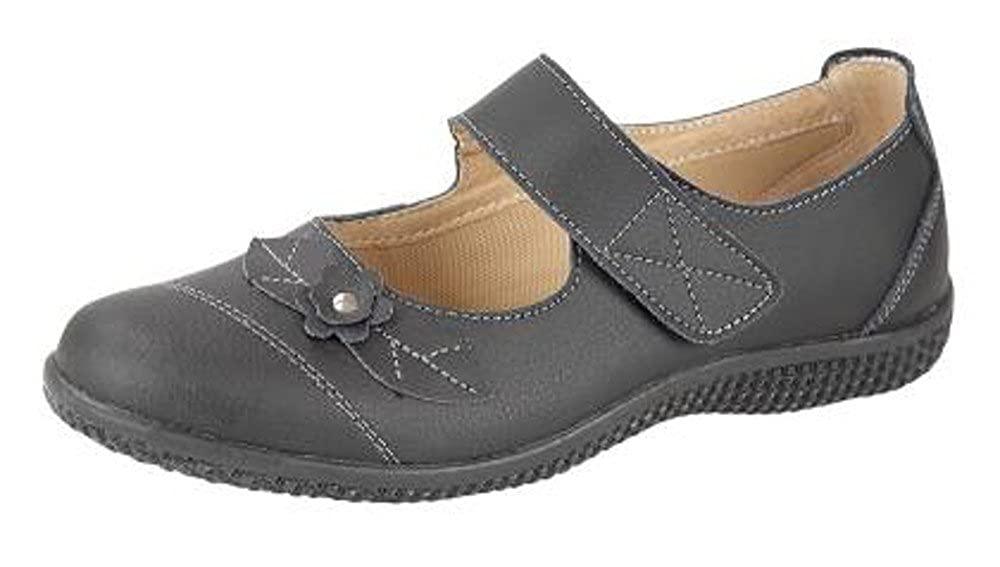 5cf4eb45287 Boulevard Womens Wide FIT EEE Leather Lined Velcro Shoes Size 3-8 Black   Amazon.co.uk  Shoes   Bags