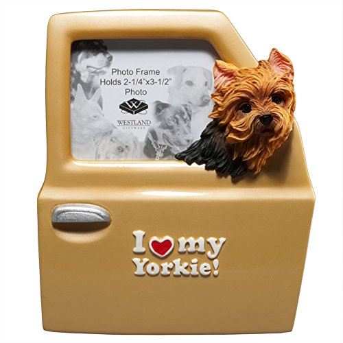 Yorkie Pictures (I Love My Yorkie Inscription Photo Frame with Dog Head Out Car Window)
