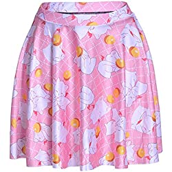 JOYHY Women's Animal Digital 3D Printed Stretchy Flared Casual Mini Skater Skirt Cats S208