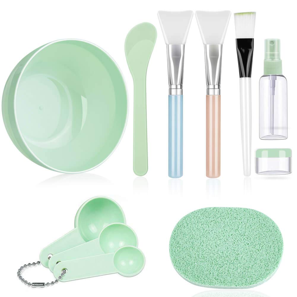 Face Mask Mixing Bowl Set, Anezus 11 Pcs DIY Facemask Mixing Tool Kit with Facial Mask Bowl Stick Spatula Silicone Brush Spray Bottle Puff Soaking Bottle Gauges