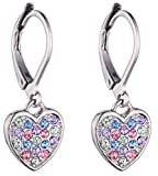 Image of Girls Lever Back Multicolor Dangle Earrings, Heart Cubic Zirconia, Multicolor Lever Back Earrings for Girls with Stainless Steel Back
