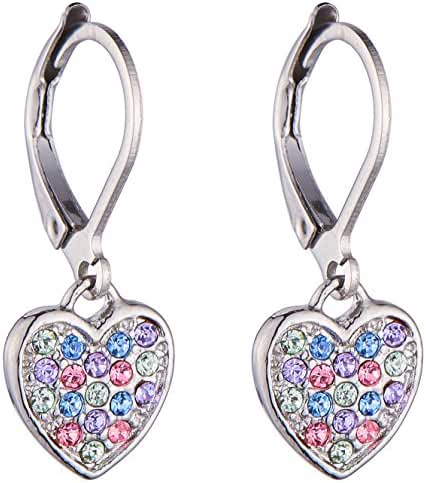 Girls Lever Back Multicolor Dangle Earrings, Heart Cubic Zirconia, Multicolor Lever Back Earrings for Girls with Stainless Steel Back