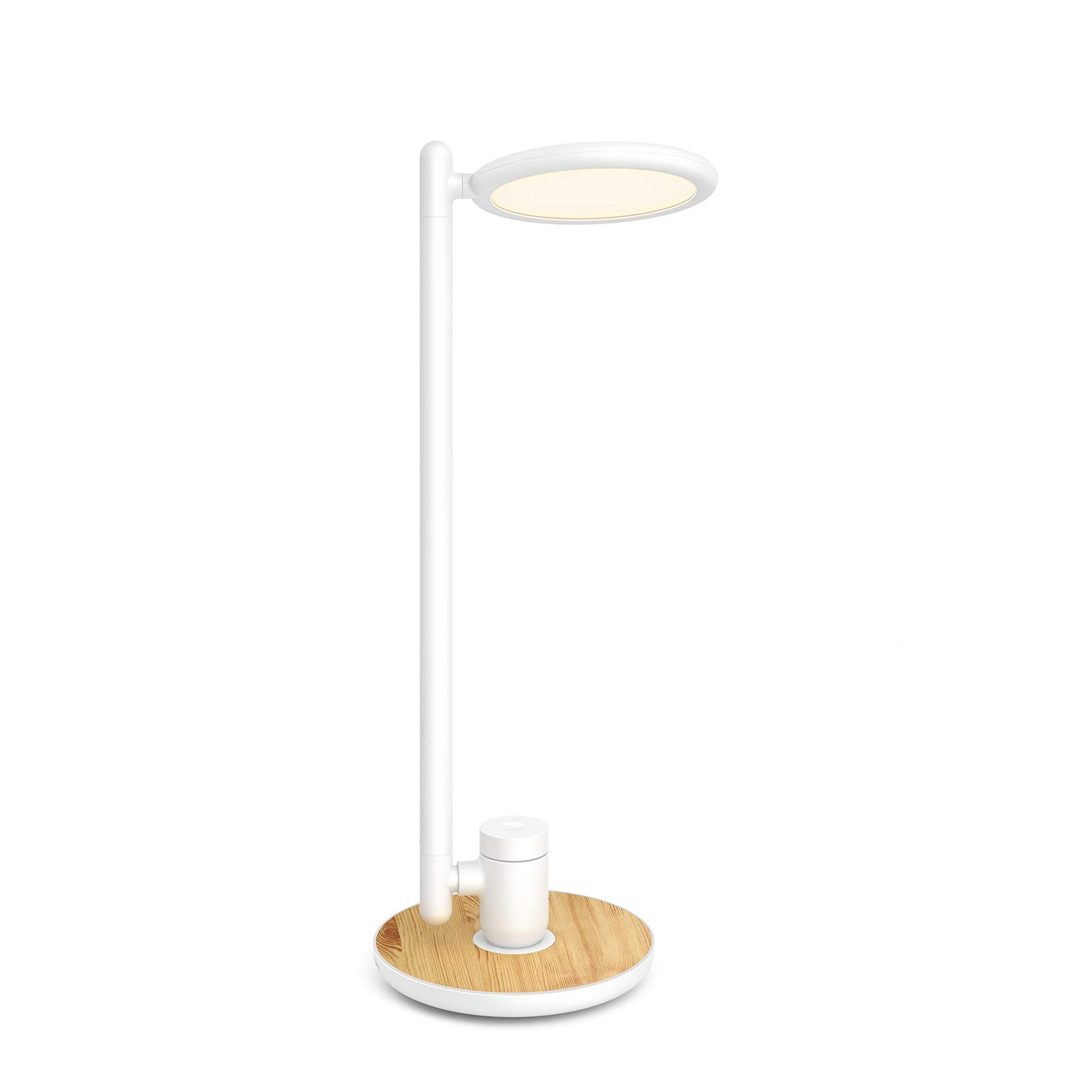LED Desk Lamp with USB Charging Port, Gladle Eye-care Desk Lights for Bedroom College Dorm Living Room Office, Dimmable Reading Lamp with Wood Grain, Bright Study Lamp for Kids, Touch Control, Memory by Gladle