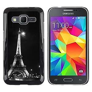 iKiki Tech / Estuche rígido - Architecture Moonlight Black & White Eiffel - Samsung Galaxy Core Prime SM-G360