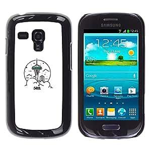 // PHONE CASE GIFT // Duro Estuche protector PC Cáscara Plástico Carcasa Funda Hard Protective Case for Samsung Galaxy S3 MINI 8190 / Sea & City /