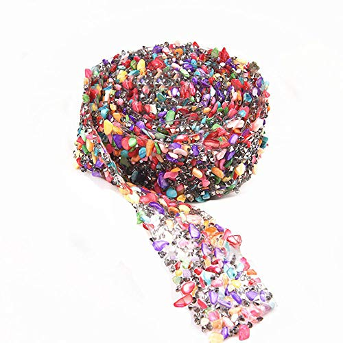 Crystal Rhinestone Trim Hotfix Ribbon Colorful Artificial Gem Stone Beaded  Iron On Applique Chain Embellishment Sewing Accessories by EORTA for DIY  Wedding ... 7be37391c60e