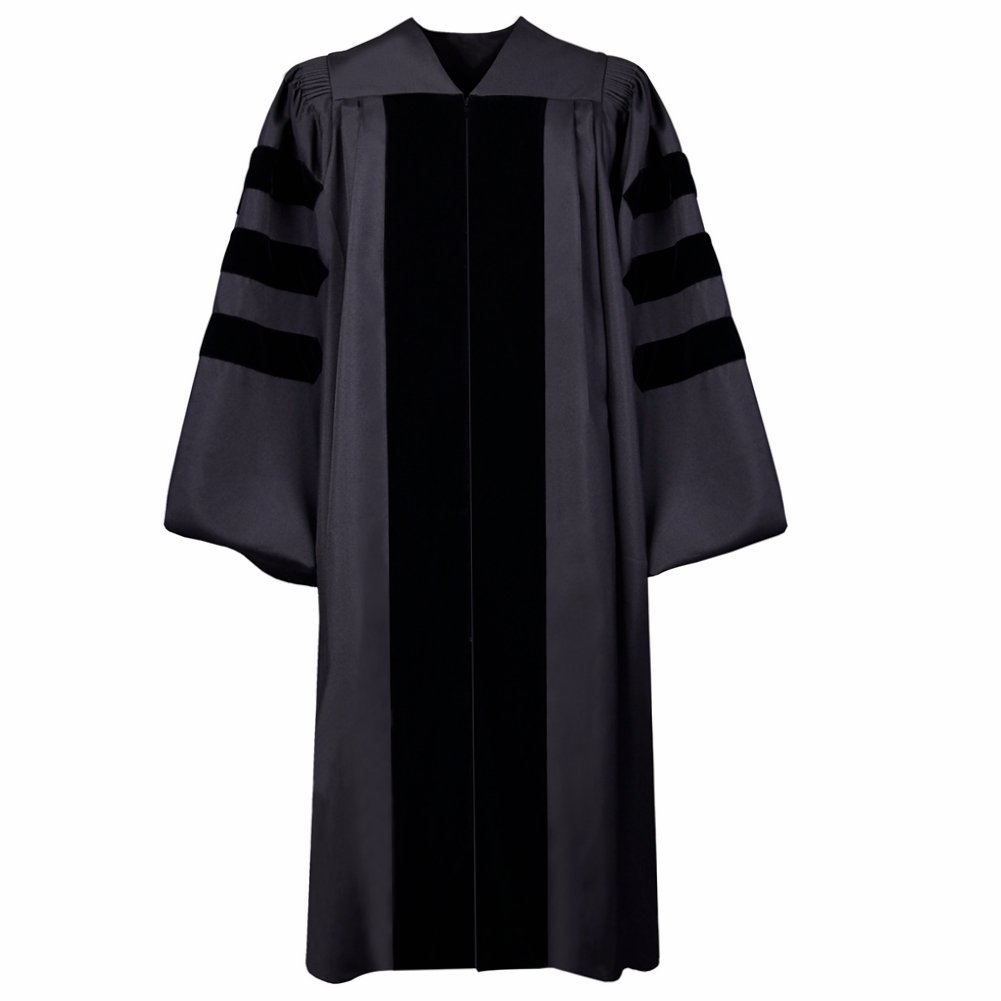 Classic Doctoral Gown Graduation Gown(Black)