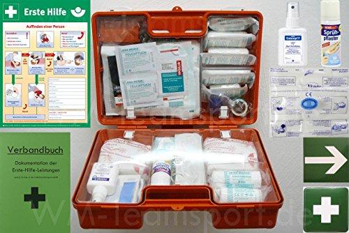 Erste-Hilfe-Koffer M5 PLUS für Betriebe DIN 13157 / EN 13157 Stand 2016 - Komplett-Paket incl. Notfall-Beatmungshilfe + Verbandbuch + Desinfektion + Aushang 1.Hilfe + Sprühpflaster